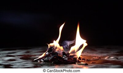 Super slow motion shot of burning wooden chips in the dark. Small fire