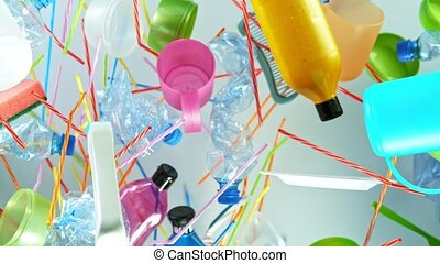Super Slow Motion Shot of Flying Empty Plastic Waste on ...