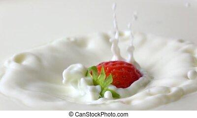 Super slow motion video of strawberry splashing into cream clip