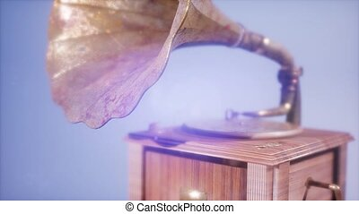 Super slow motion Vintage Gramophone rotate