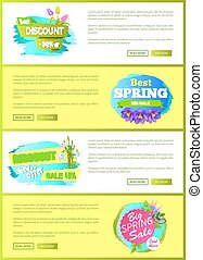 Super Spring Big Sale Advertisement Labels Flowers