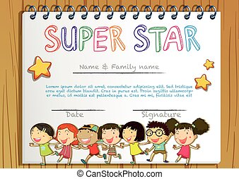 Super star award template with children in background...