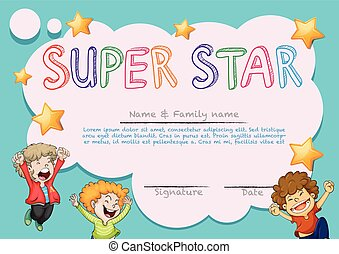 Super star award template with kids in background...