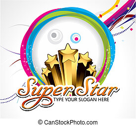 super star background with cirlcle vector illustration
