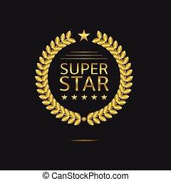 Super star badge, Golden laurel wreath. Vector illustration