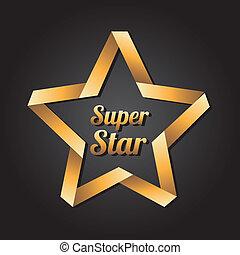 super star golden over black background vector illustration