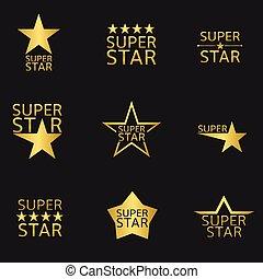 Super Star - Golden super star logo icon set. Vector...