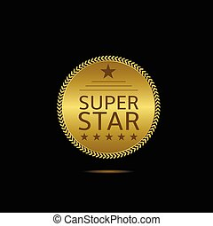 Super star label. Golden badge with laurel wreath and stars....