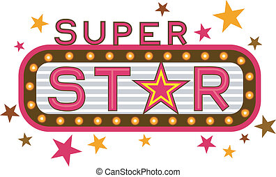 Super Star - Illustration Featuring the Words Super Star
