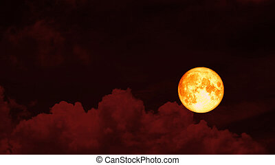 Super strawberry blood moon and night red sky