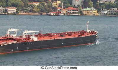 Super tanker ship sailing into