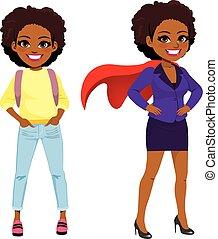 super, transformação, mulher negócio