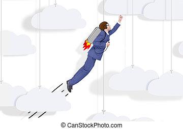 super, uomo affari, volare