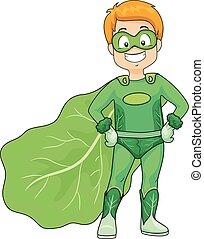 super, veggie, criança, herói, menino, ilustração, verde