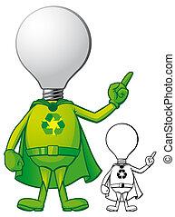 super, vert, énergie