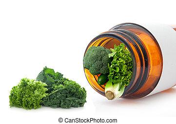 Super vitamin pill concept - Fresh green detox vegetables...