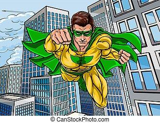 super, voando, herói, cidade