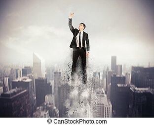 super, voando, herói, homem negócios