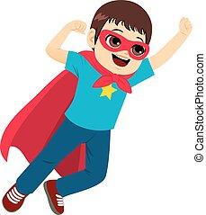 super, voando, herói, menino