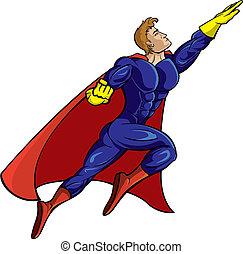 super, voando, herói