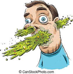 Super Vomit - Vomit explodes from a man's face.