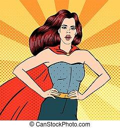 super, woman., femmina, hero., superhero., ragazza, in,...