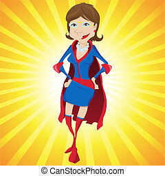 Super Woman Mother Cartoon with Yellow Background. Editable...
