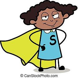 Super Woman - Retro Black Office Girl Cartoon Vector Illustration