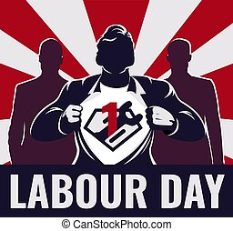 Super workers labour day illustration