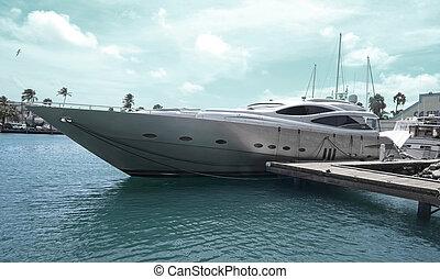 Super Yachts moored at Oranjestad Harbor, Aruba Island in...