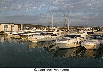Super Yachts moored at Sukosan Harbor near Zadar, Croatia -...