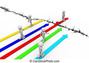 superación, crisis, con, empresa / negocio