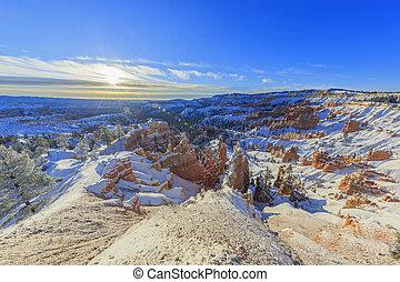 superb, ansicht, von, sonnenaufgang, punkt, bryce schlucht nationalpark