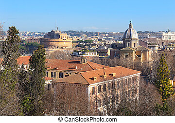 superb views of the Rome from the height of the Janiculum ...