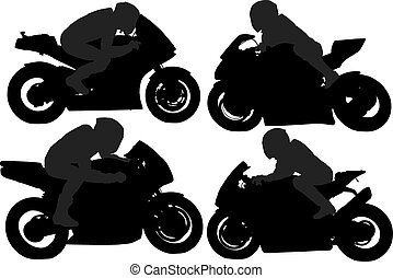 Superbike Silhouette on white background