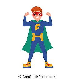 Superboy or superchild. Cute boy wearing mask, bodysuit and cape standing in powerful posture. Brave and strong kid hero or secret agent with super power. Vector illustration in flat cartoon style.