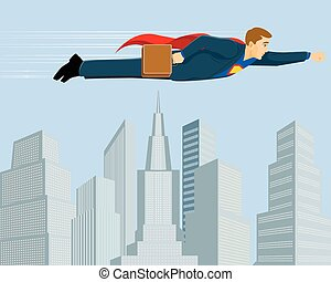 Superbusinessman above the city - Vector illustration of a ...
