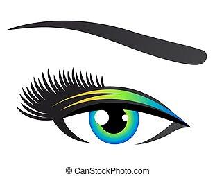 supercílios, olho, coloridos
