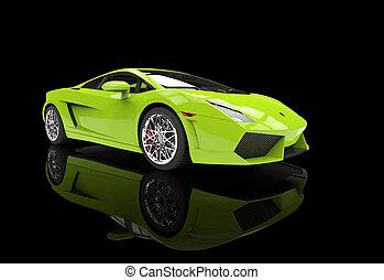 supercar, 明るい, 緑