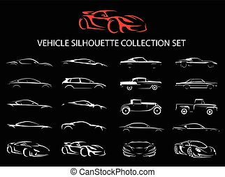 Supercar and regular car vehicle silhouette collection set. Vector illustration.