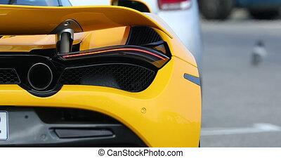 supercar, arrière, jaune, vue