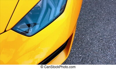 Supercar Headlight Closeup - Close Up View of Yellow Italian...