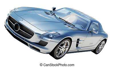 Sport supercar isolated on a light background, the bright sunlight