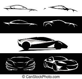 supercar, silhouette, satz, sammlung