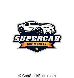 Supercar, sport car vector logo template - Vector...