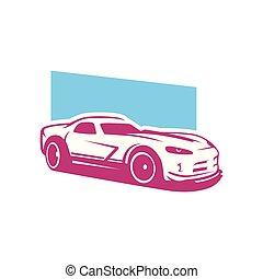 Supercar, sport car vector logo template
