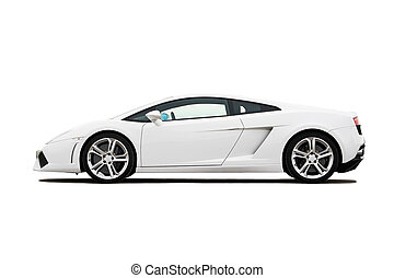 Supercar - White modern supercar isolated on white