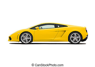 Supercar - Yellow modern supercar isolated on white