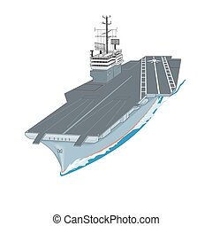 supercarrier - Aircraft carrier floating on waves with plane...
