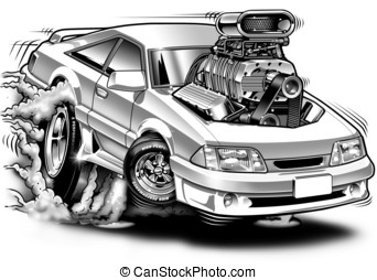 Supercharged Cartoon Muscle Car - B&W Illustration